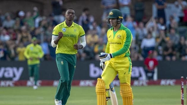 South Africa's bowler Lungi Ngidi, left, celebrates after bowling Australia's batsman Alex Carey.(AP)
