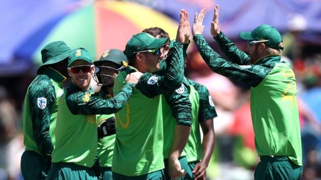 File image of players of SA cricket team celebrating after the fall of a wicket.(REUTERS)