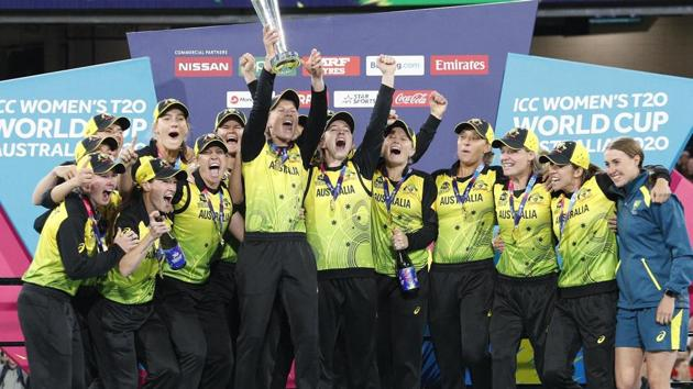 Melbourne: Australian players celebrate their win over India in the Women's T20 World Cup cricket final match in Melbourne, Sunday, March 8, 2020. AP/PTI(AP08-03-2020_000141A)(AP)