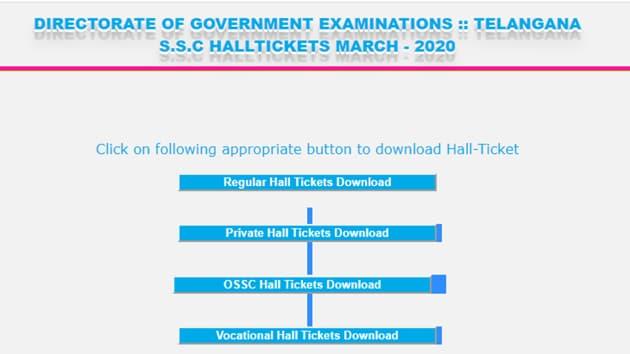 TS SSC 2020 hall ticket(TBSE)