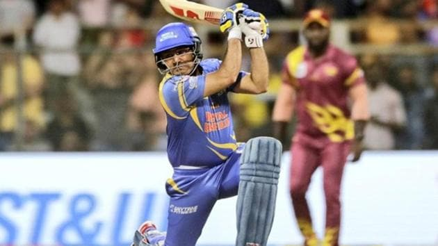 Virender Sehwag in action during the Road Safety World Series.(Twitter)