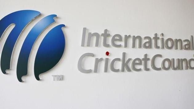 The International Cricket Council (ICC) logo at the ICC headquarters in Dubai.(REUTERS)