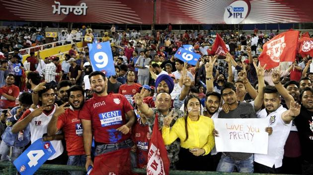 Representative image: File image of KXIP fans cheering the team on during an IPL match.(Keshav Singh/Hindustan Times)