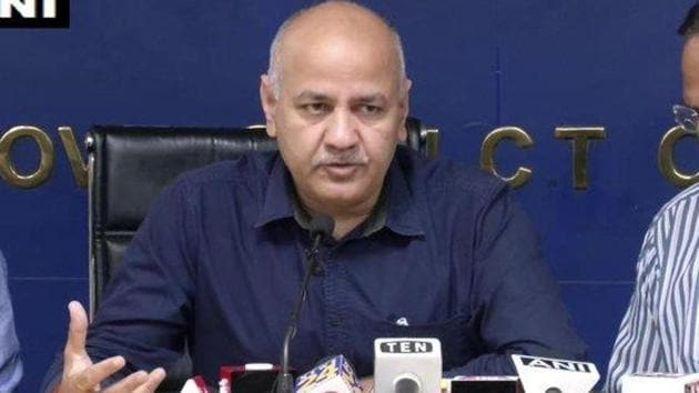 Delhi Deputy Chief Minister Manish Sisodia addressing a press conference on Friday.(ANI Photo)