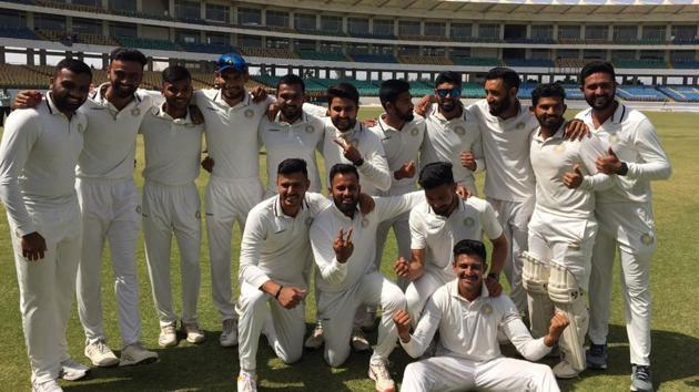 Saurashtra players after winning Ranji Trophy(Twitter)