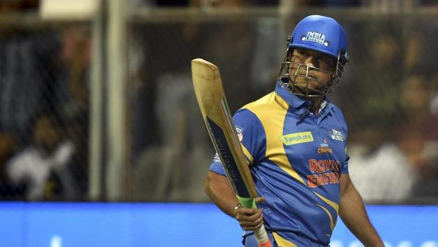 Mumbai: India Legends Captain Sachin Tendulkar during Road Safety World Series Cricket T20 tournament(PTI)