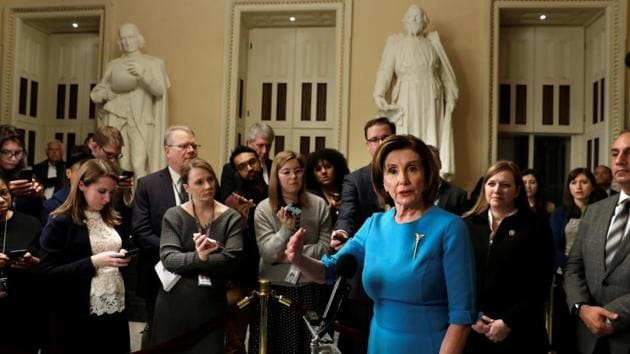 House Speaker Nancy Pelosi (D-CA) speaks to the media about a coronavirus economic aid package on Capitol Hill in Washington, US.(REUTERS)