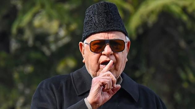 National Conference patron Farooq Abdullah speaks to media after his Public Safety Act (PSA) was revoked by J-K administration.(PTI Photo)