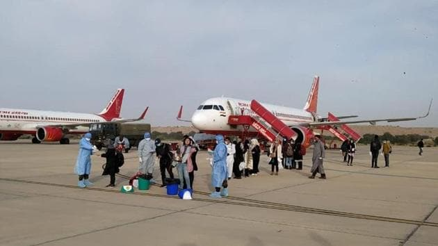 Indians brought back from coronavirus-hit Iran have reached Jaisalmer where they will be quarantined at an army facility.(ANI Photo)