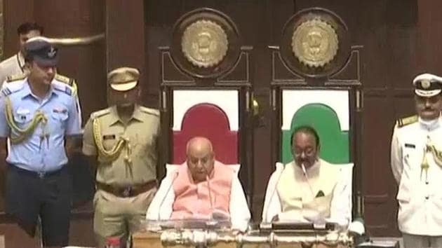 Governor Lalji Tandon (left) reading a statement on the first day of the budget session of Madhya Pradesh Assembly on Monday.(ANI Photo)
