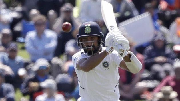 India's Cheteshwar Pujara watches the ball.(AP)