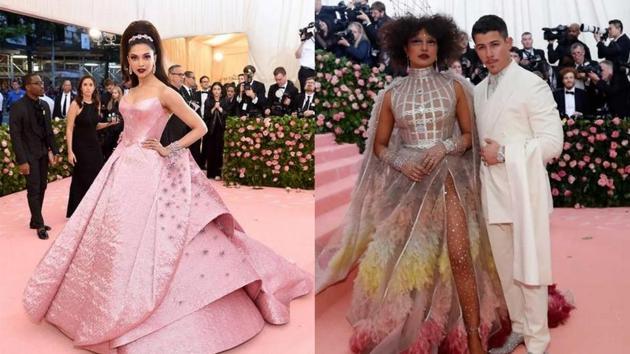 Deepika Padukone, Priyanka Chopra and Nick Jonas at MET Gala last year. (Reuters)