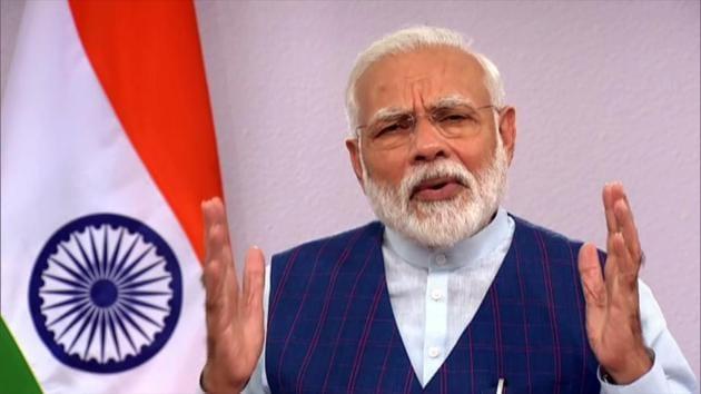 Prime Minister Narendra Modi participates in birth centenary celebrations of Bangladesh's founder Sheikh Mujibur Rahman, via video conferencing, in New Delhi on Tuesday.(ANI)