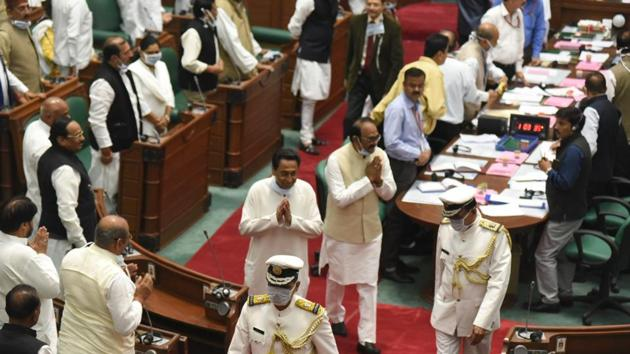 Madhya Pradesh Chief Minister Kamal Nath during the budget session of state Assembly, in Bhopal on Monday.(Mujeeb Faruqui / HT Photo)
