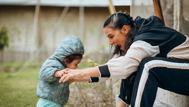 Neha Dhupia with her baby girl Mehr Dhupia Bedi.