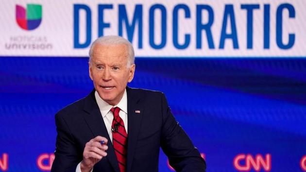 Democratic U.S. presidential candidate and former Vice President Joe Biden speaks during the 11th Democratic candidates debate of the 2020 U.S. presidential campaign, held in CNN's Washington studios, March 15, 2020.(REUTERS)