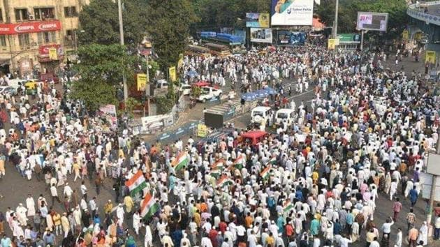 File photo of a protest rally against the CAA held at Park Circus crossing in Kolkata. (Image used for representation).(SAMIR JANA/HT PHOTO.)