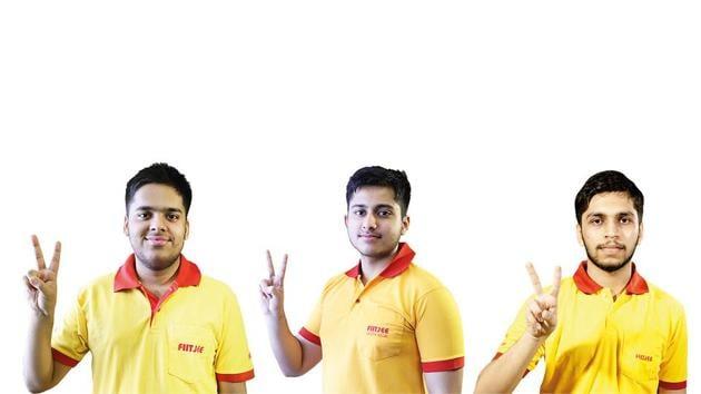 (From L-R) Himanshu Gaurav Singh (AIR 2), Archit Bubna (AIR 3), Manan Aggarwal (AIR 14)