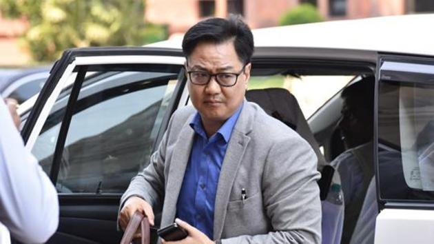 Minister of State for Youth Affairs and Sports and Minister of State of Minority Affairs Kiren Rijiju.(Sonu Mehta/HT PHOTO)