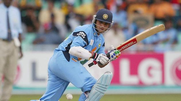Sourav Ganguly of India sweeps during the ICC Cricket World Cup Semi-Final between India and Kenya at the Kingsmead cricket ground in Durban, South Africa on March 20, 2003.(Getty Images)