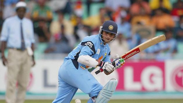 Sourav Ganguly of India sweeps during the ICC Cricket World Cup Semi-Final between India and Kenya at the Kingsmead cricket ground in Durban, South Africa on March 20, 2003. (Photo by Mike Hewitt/Getty Images)(Getty Images)