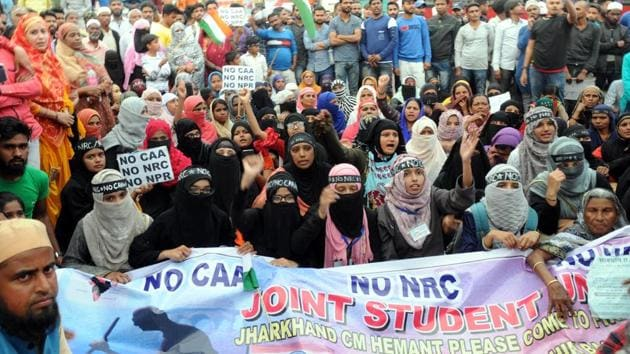 students after blocking the traffic movement demonstrating against CAA, NRC , NPA on MG road in Ranchi,on February 23, 2020.(Diwakar Prasad/ HT file photo)