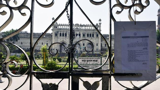 A view of the Bara Imambara, also known as Asifi mosque closed due to preventive measures against coronavirus at Old City Lucknow, Uttar Pradesh.(Photo by Dheeraj Dhawan / Hindustan Times)