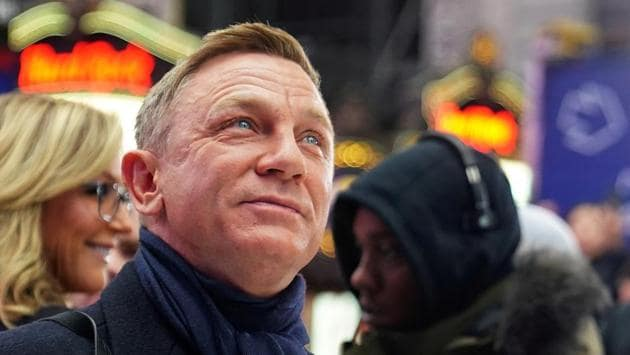 Daniel Craig reacts during a promotional appearance on TV in Times Square for the new James Bond movie No Time to Die.(REUTERS)