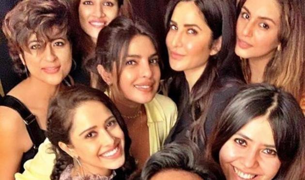 Priyanka Chopra, Katrina Kaif and Ekta Kapoor pose with other Bollywood celebs.