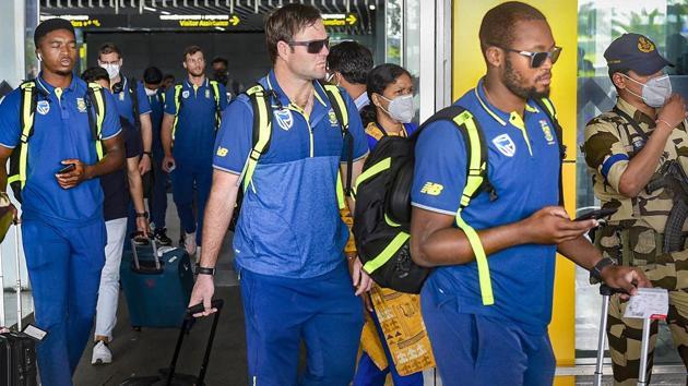 South Africa cricket team players arrive at NSCBI Aiport, in Kolkata.(PTI)