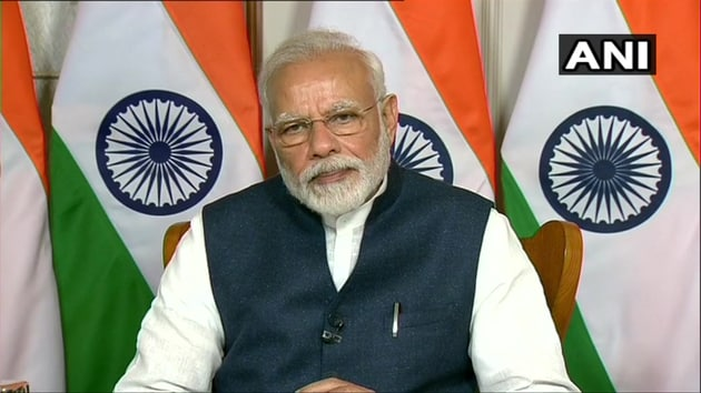 Prime Minister Narendra Modi during an interection with television channels on Monday.(ANI)