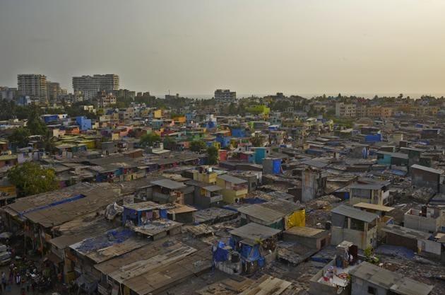 Mumbai, India - May 23, 2018: An aerial view slum of newly painted by 'Chal Rang De' at Khar Danda in Mumbai, India, on Wednesday, May 23, 2018. (Photo by Ragul Krishnan/ HT PHOTO)(HT PHOTO)