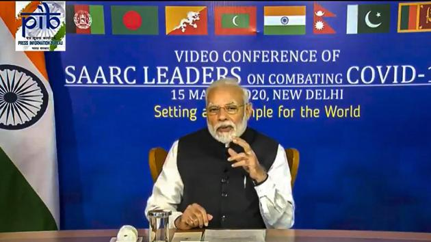 Prime Minister Narendra Modi during a video conference with South Asian Association for Regional Cooperation (SAARC) leaders on chalking out a plan to combat the Covid-19 .(PTI)