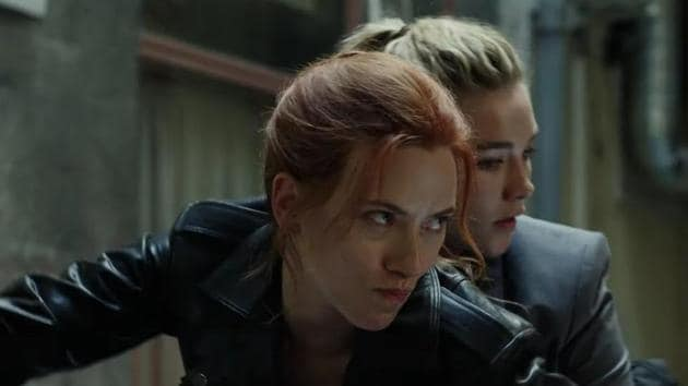 Scarlett Johansson and Florence Pugh in a still from the Black Widow trailer.