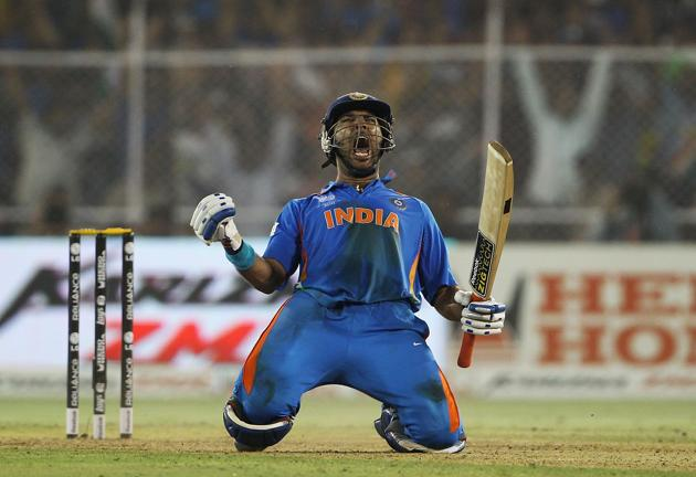 Yuvraj Singh of India celebrates hitting the winning runs during the 2011 ICC World Cup Quarter Final match between Australia and India at Sardar Patel Stadium on March 24, 2011 in Ahmedabad, India. (Photo by Matthew Lewis/Getty Images)(Getty Images)