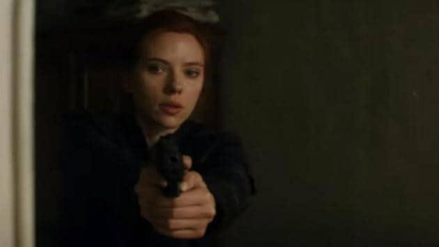 Scarlett Johansson in a still from the Black Widow trailer.