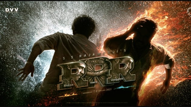 RRR poster: SS Rajamouli's leads Jr NTR and Ram Charan harness the power of water and fire.