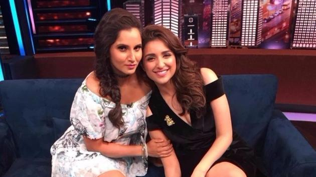 Sania Mirza poses with friend Parineeti Chopra.