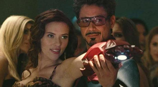 Robert Downey Jr and Scarlett Johansson in a still from Iron Man 2.