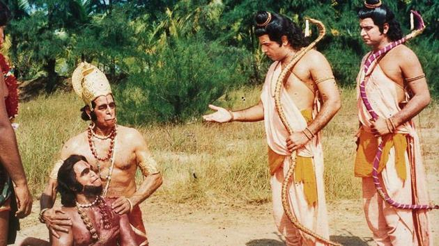 Arun Govil, Sunil Lahri and Dara Singh played the roles of Ram, Lakshman and Hanuman, respectively, in the 1987 show.(HT Archive)