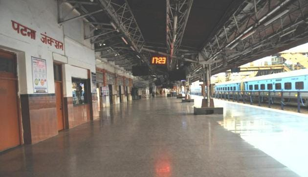 Deserted look at Patna Junction during 21 days nationwide lockdown amid the coronavirus (COVID-19) pandemic in Patna Bihar India on Friday March 27,2020.(Photo by A P Dube/Hindustan Times)