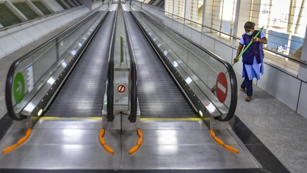 A metro station during 'Janata curfew' in the wake of coronavirus pandemic in Chennai on March 22, 2020.(PTI File Photo)