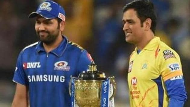 Hyderabad: Skippers of CSK MS Dhoni and MI Rohit Sharma pose with the trophy before the Indian Premier League 2019 final cricket match between Chennai Super Kings (CSK) and Mumbai Indians (MI), at Rajiv Gandhi International Cricket Stadium in Hyderabad, Sunday, May 12, 2019. (PTI Photo/R Senthil Kumar) (PTI5_12_2019_000290B)(PTI)