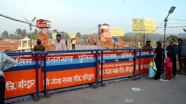 Har Ki Pauri ghat, a major destination for pilgrims in Hariidwar have been sealed to enforce the lockdown.(ANI)