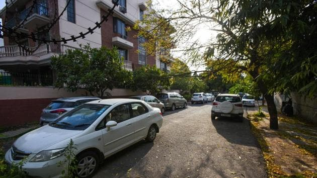 Cars parked at Delhi's Panchsheel Enclave during the 21-day nationwide lockdown imposed by PM Narendra Modi to curb the spread of coronavirus.(Amal KS/HT PHOTO)