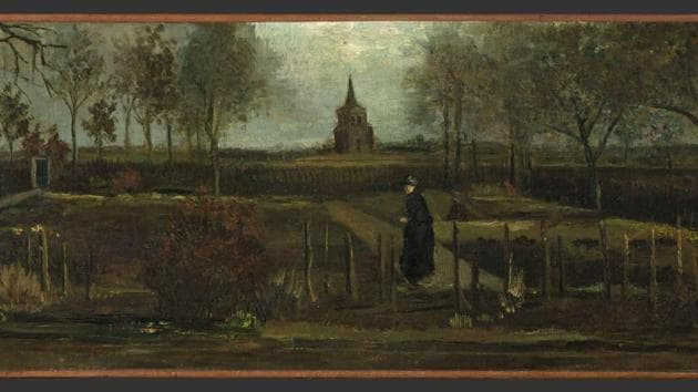 """This image released by the Gronninger Museum on Monday March 30, 2020, shows Dutch master Vincent van Gogh's painting titled """"The Parsonage Garden at Nuenen in Spring"""" which was stolen from the Singer Museum in Laren, Netherlands, Monday March 30, 2020.(AP)"""