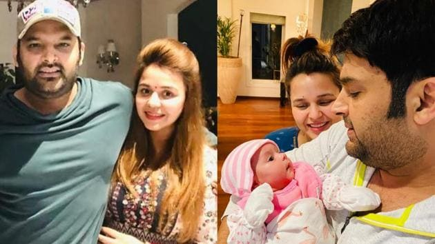 Kapil Sharma with wife Ginni and daughter Anayra.