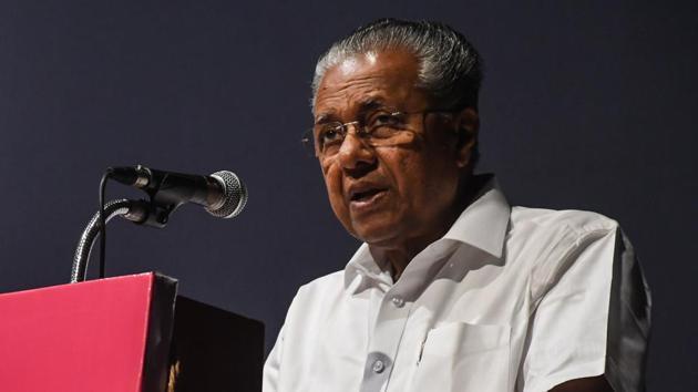 Kerala Chief Minister Pinarayi Vijayan lashed out at the communalisation of the Tabligihi Jamaat meet in Nizamuddin.(Shashi S Kashyap/ HT PHOTO)