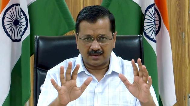 Delhi Chief Minister Arvind Kejriwal gave a status report of coronavirus cases in Delhi(ANI Photo)