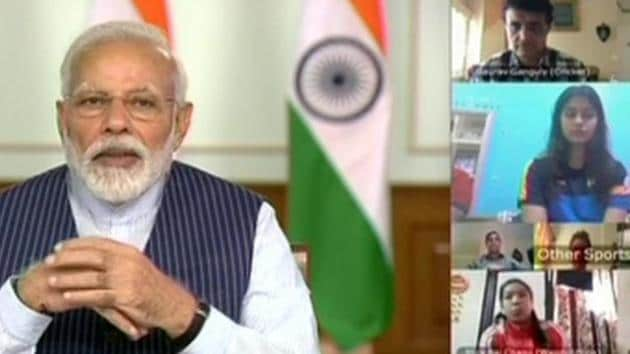 PM Narendra Modi holds video conference with eminent sports personalities of India over the coronavirus pandemic.(Twitter/ANI)